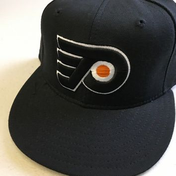 RETRO PHILADELPHIA FLYERS BLACK LOGO 5950 NEW ERA FLAT BRIM FITTED HAT