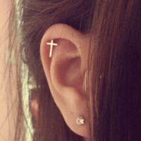 Tiny Cross Cartilage Earring