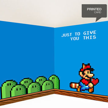 Super Mario Love Printed Card by kiracards on Etsy