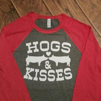 Hogs and Kisses Valentine Shirt. Pig Shirt. Livestock Show Shirt. Pig Valentine's Day Shirt. Hogs and Kisses Raglan
