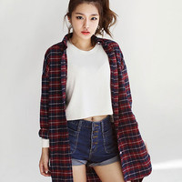'The Nairne' Casual Button Down Lapel Plaid Checked Flannel Shirt