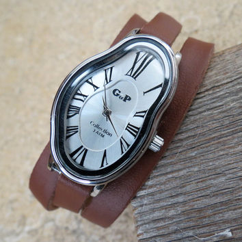 Salvador Dali Watch - Women's Watches - Leather Watch - Wrist Watch - Watches For Women - Dali Wrist Watch - Brown Watch - Wrap Watch