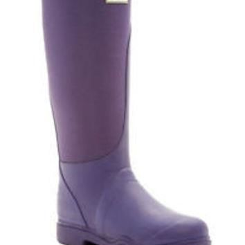 HUNTER TALL BALMORAL EQUESTRIAN STRETCH DARK IRIS PURPLE WELLINGTON BOOTS SZ 8