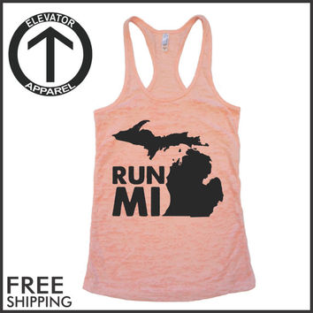 Run Michigan. Run MI. MI Shirt.  Burnout Tank Top. Fitness Tank. Excercise Tanks. Crossfit Tank Top. Running Tank. Marathon. Workout Tank.
