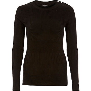 Black button detail top - knitted tops - knitwear - women