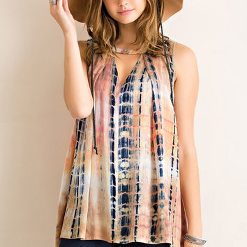 tie-dye print rayon flare shirt with keyhole