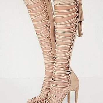 Plus size 34-43 new sexy knee high gladiator sandals high heels lace up suede summer boots thin heels party dance shoes