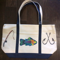Beach Tote Bag Hand Painted with Fish, Hooks and Fishing Pole