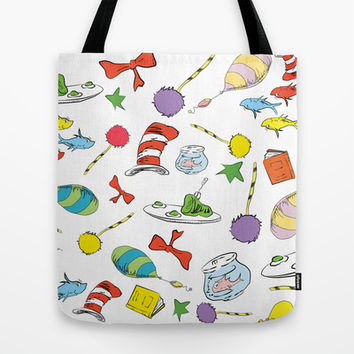 dr seuss pattern..  cat in the hat, lorax, oh the places you'll go,  Tote Bag by Studiomarshallarts
