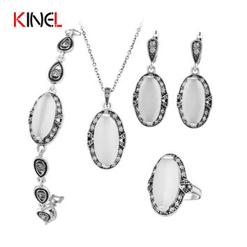 KineL Brand Vintage Opal Wedding Jewelry Set Plating Ancient Silver 4Pcs/Sets Ring/Necklace/Bracelet And Earring For Women Gift