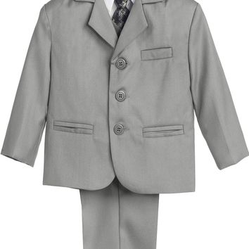 Boys Light Grey 5pc Dress Suit w. 3-Button Jacket 6m-14 & 8H-20H