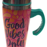 Coffee Mug Good Vibes Only Gift Insulated 16oz Travel Pink Turquoise Leaves