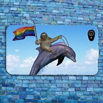 Funny Sloth Riding Dolphin Cute Gay Pride Phone Case iPhone 4 4s 5 5c 5s 6 iPod