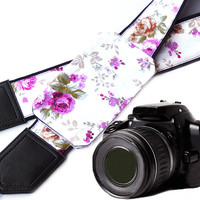 Fowers Camera strap with a pocket.  Roses camera strap.  DSLR Camera Strap. Camera straps for Nikon, Sony, Fuji & other cameras.
