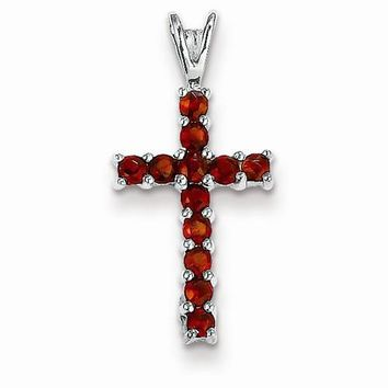 14k White Gold Garnet Cross pendant