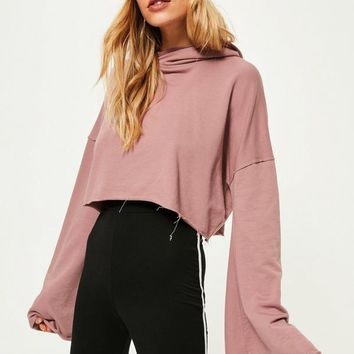 Missguided - Purple Extreme Flare Sleeve Crop Hoodie