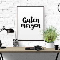 Funny Wall Art Printable Guten Morgen German Unisex Nursery Decor Good Morning Sunshine Bedroom Decor German Word Good Day German Language