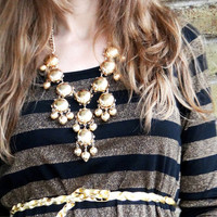 Metallic Full-Sized Bubble Necklace with Earrings Gold or Silver