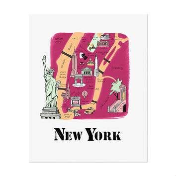 New York City Map / Illustrated Map / New York Art Print