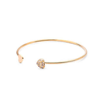 Gold Rhinestone Heart Bangle