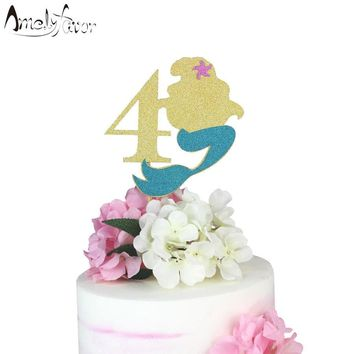 Little Mermaid Cake Topper Glitter Paper Topper Mermaid Cake Decoration Girl Birthday Party Decorations Supplies Age Cake Topper