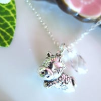 Puffy horse zodiac charm cherry blossom Swarovski crystal necklace, year of the horse sterling silver charm necklace