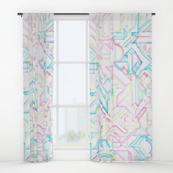 MINIMALIST GEOMETRIC PASTEL BRIGHT SHAPES PATTERN GRAPHIC DESIGN Window Curtains by AEJ Design