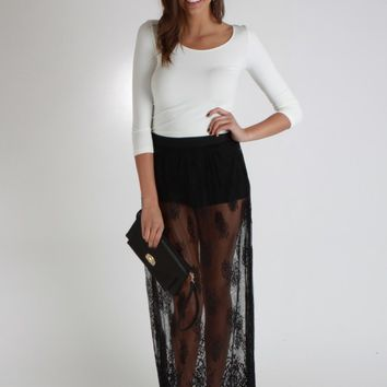 Sheer Lace Maxi Skirt With Built-In Shorts