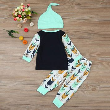 3 Pc Baby Boy's Long Sleeve Arrow Print Shirt with Pants and Hat