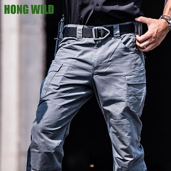 HONG WILD Lightning Pants Mens Military Quality Multi-Pockets Plaid Waterproof Tactical Trousers Cargo Pants 3 Colors