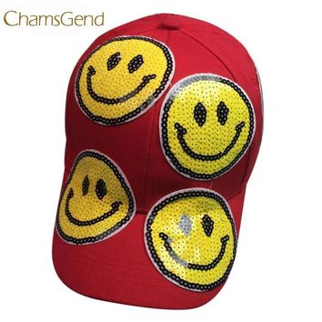 Trendy Winter Jacket Newly Design Smiling Emoji Sequins Baseball Cap Women Men Outdoor best Snapback Hats 80323 AT_92_12