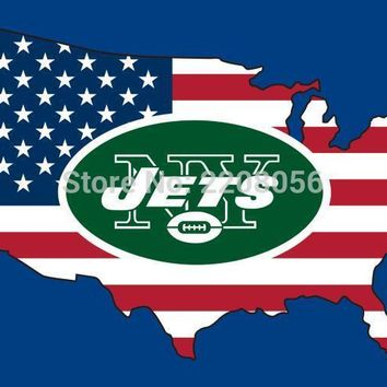 New style 3x5FT New York Jets flag with American banner flag 100D Polyester NFL flag hot sell New York Jets flag