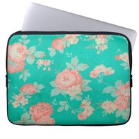 Grunge Green Floral Laptop Computer Sleeve