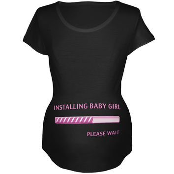 Installing Baby Girl Funny Black Maternity Soft T-Shirt