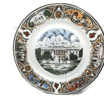 White House Souvenir Plate - Washington DC Collectible, Wall Decor, Great Graphics, Kitsch