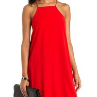 Red Racer Neck Sleeveless Shift Dress by Charlotte Russe