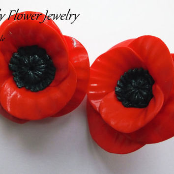 Polymer Clay Earrings Red Poppies by ByLilyjewelry on Etsy