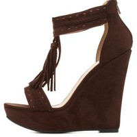 T-Strap Tassel Platform Wedge Sandals by Charlotte Russe