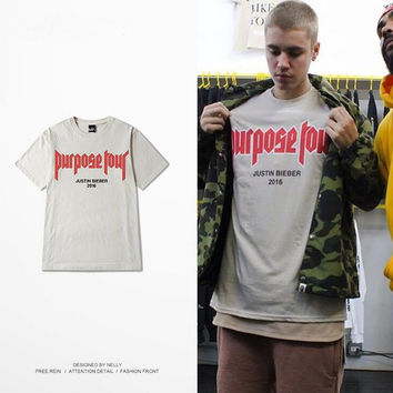 Hot New Vfiles Justin Bieber Fear Of God Purpose Tour Short Sleeve Man Woman T-shirt Stars Loves High Quality