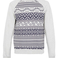 Light Grey Marl Aztec Printed Sweatshirt - Hoodies & Sweatshirts - New In - TOPMAN USA