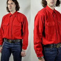 Vintage 50's Woolrich Richmeister Beautiful Crimson Red Gusseted Flannel Logger Shirt