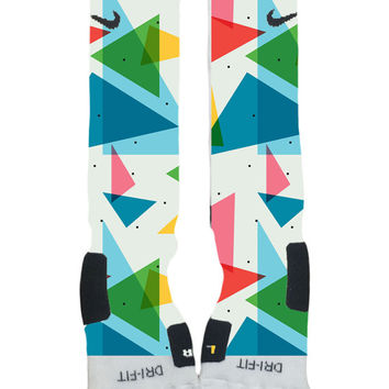 Nike Elite Socks Custom made-90's Geometric Pattern Blue Green White Pink