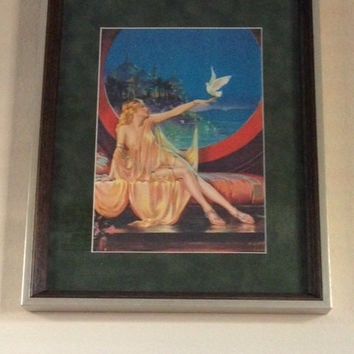 The White Dove- Sultana Framed Pin-Up Girl Antique