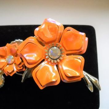 Vintage Brooch Flower Enamel Metal Flower Floral Spray Orange Pink Glossy Enamel Rhinestones Gold Tone Metal Large Mid Century Statement