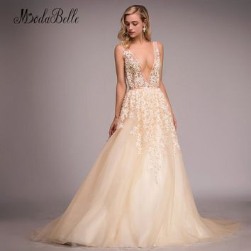modabelle Backless Sexy Prom Dresses Pearls Champagne Tulle Deep V Neck Long Lace Evening Dress Formal Women Vestidos Gala 2018