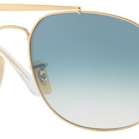 Ray Ban Men's Retro Square Double Bridge General Sunglasses Gold Blue Gradient RB3561 001/3F