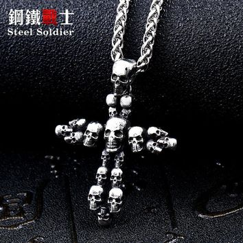 Steel soldier vintage skull viking cross pendant necklace for me 316l stainless steel punk rock jewelry