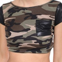 Cropped Pleather Sleeve Tee