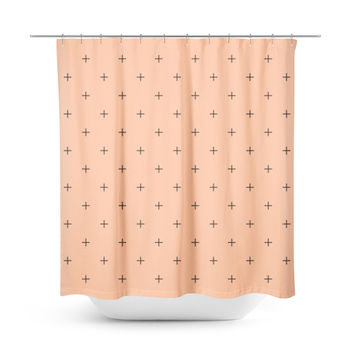 Swiss Cross Peach Shower Curtain