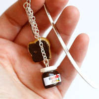 Nutella Miniature polymer clay bookmark with tiny knife and bread